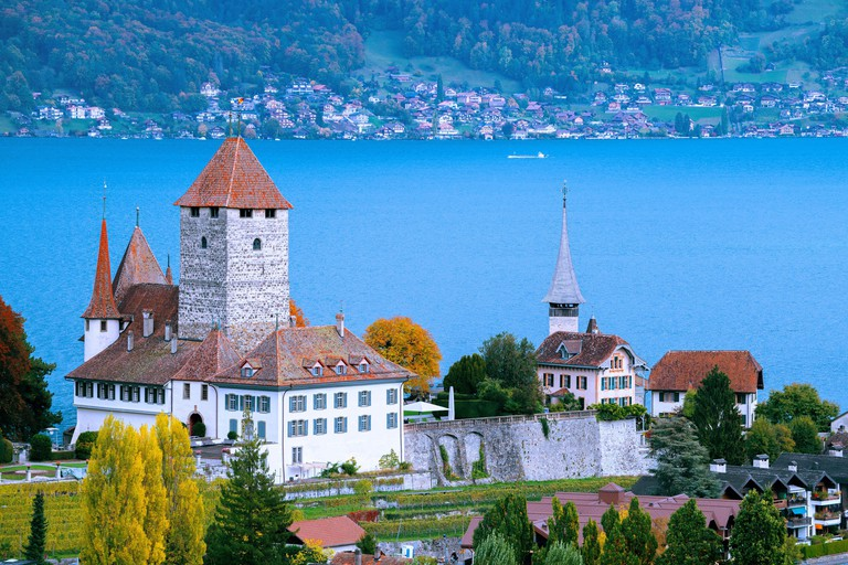 Spiez Castle in Spiez (Switzerland) in front of Lake Thun 2E0HAX3