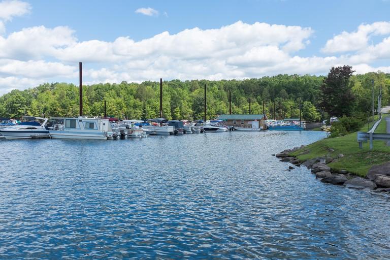 Pleasureboats moored on Summersville Lake in West Virginia, USA