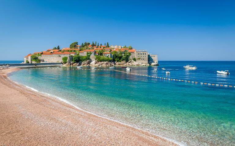 Sveti Stefan island and paradise beach in Montenegro
