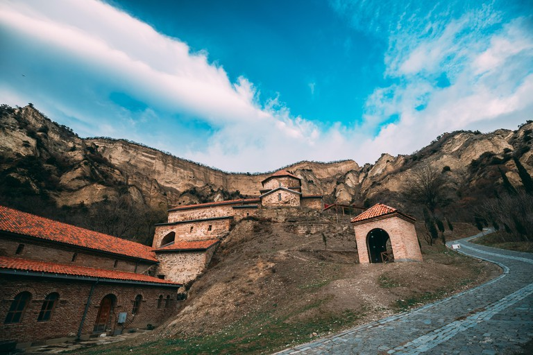 Mtskheta, Georgia. Shio-Mgvime Monastery. Upper Church Of Holy Virgin Or Theotokos, Central Part Of Medieval Monastic ShioMgvime Complex In Limestone