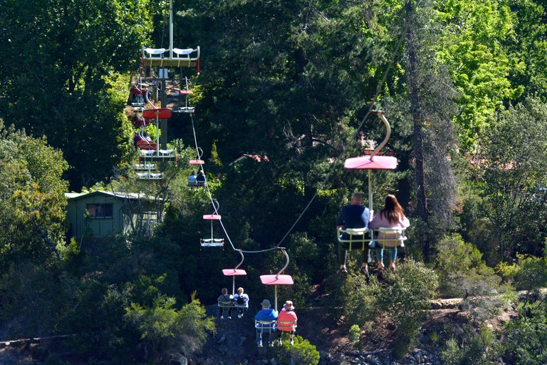 Tourist ride on Gorge Scenic Chairlift in Launceston Tasmania Australia.