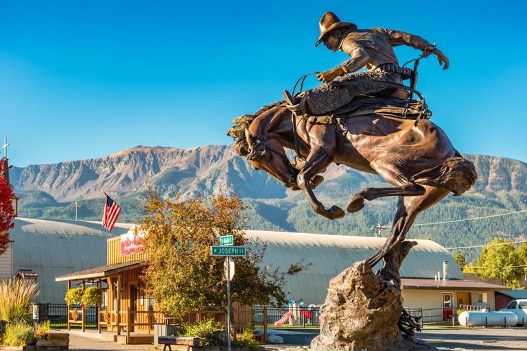 Sculpture by Austin Barton in downtown Joseph, Oregon, USA