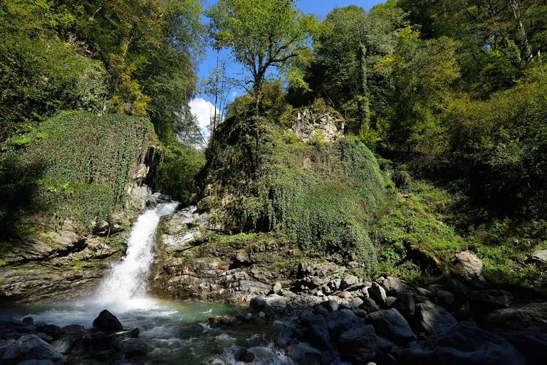 Trekking to the Lagodekhiskhevi waterfall in Lagodekhi Nature Reserve in Georgia, Kakheti region
