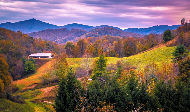 autumn season and sunset over boone north carolina landscapes. Image shot 11/2018. Exact date unknown.