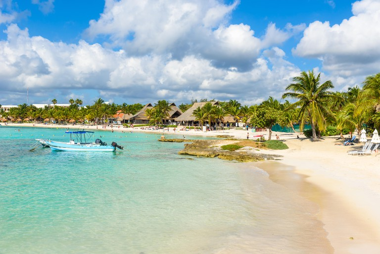 Akumal - paradise bay with beautiful white beach, close to Cancun, Yucatan, Mexico
