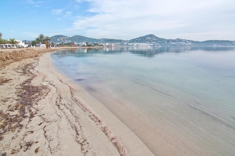Peaceful Talamanca beach on a sunny winter morning on December 17, 2015 in Ibiza, Balearic islands, Spain