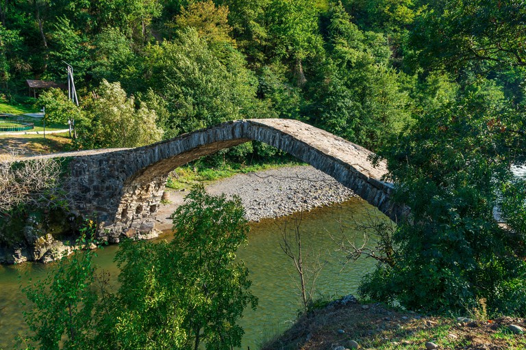 The stone arch bridge over the Ajaristskali river, Dandalo bridge, Georgia