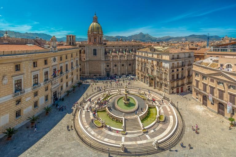 View of baroque Piazza Pretoria and the Praetorian Fountain in Palermo, Sicily, Italy.