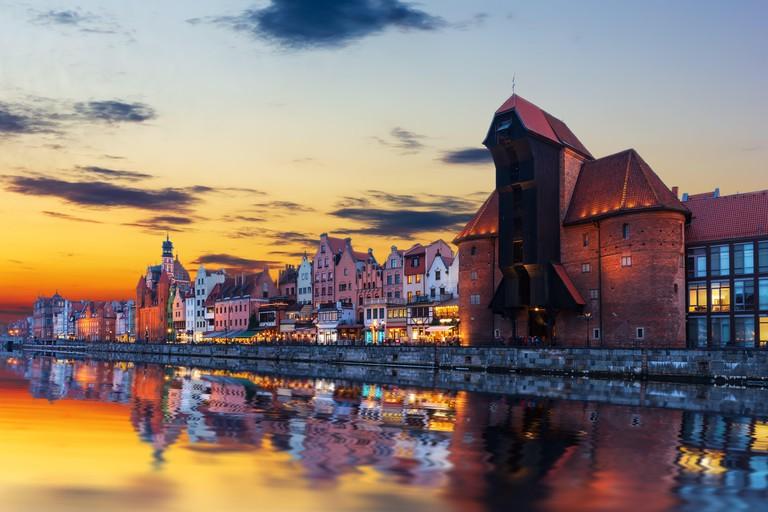 Gdansk sunset above the Motlawa and Zuraw Port Crane, Poland.