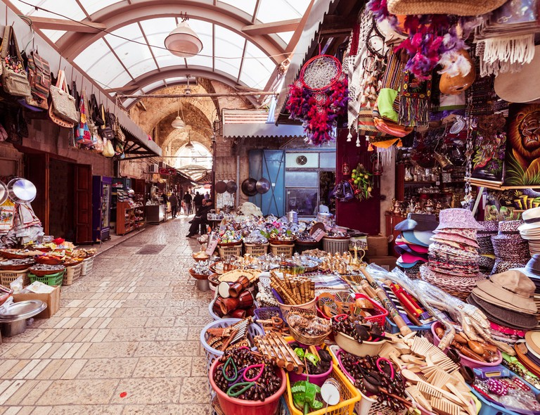 The Arabic suq in the historic old city of Akkon, Israel, Middle East.