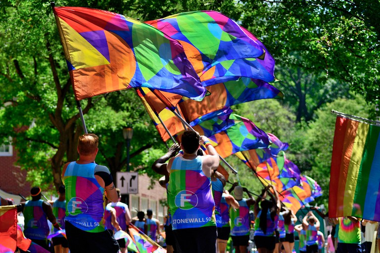 Thousands attend the annual Philly Pride Parade celebrating the LGBTQI community and commemorating the 50th anniversary of the Stonewall riots.