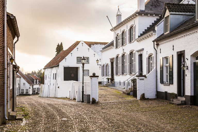 Streets in the historic city of Thorn in Limburg, the Netherlands. Known for its white houses