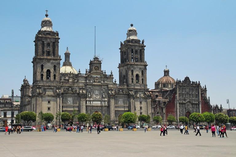 Mexican Metropolitan Cathedral at Zocalo in Mexico city. Catedral Metropolitana de la Asuncion de la Santisima Virgen Maria a los cielos. TWTFCM