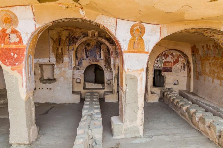 DAVIT GAREJA, GEORGIA - JULY 16, 2017: Cave refectory of Udabno cave monastery at Davit Gareja monastic complex in Georgia