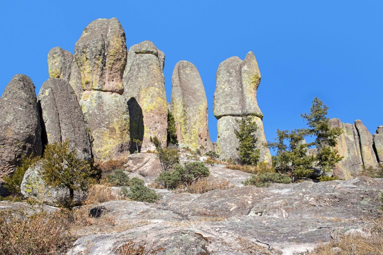 Elongated rock formations in the Valley of the Monks / Valle de los Monjes / Bisabirachi near Creel in Alta Sierra Tarahumara, Chihuahua_2F3PFDK