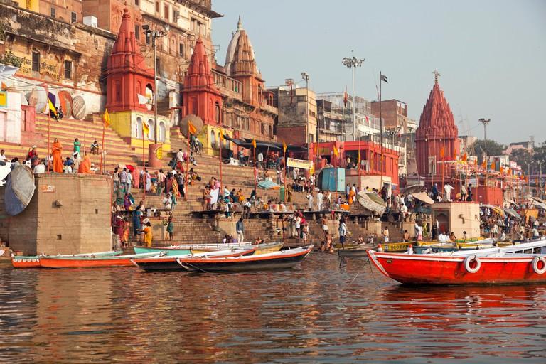 Ghats, boats and the river Ganges, Varanasi, Uttar Pradesh, India