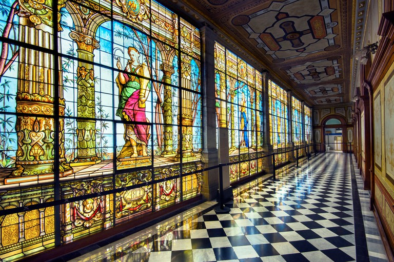 Mexico, Mexico City, Chapultepec Castle, Hallway of the Stained Glass Windows, National Museum Of History