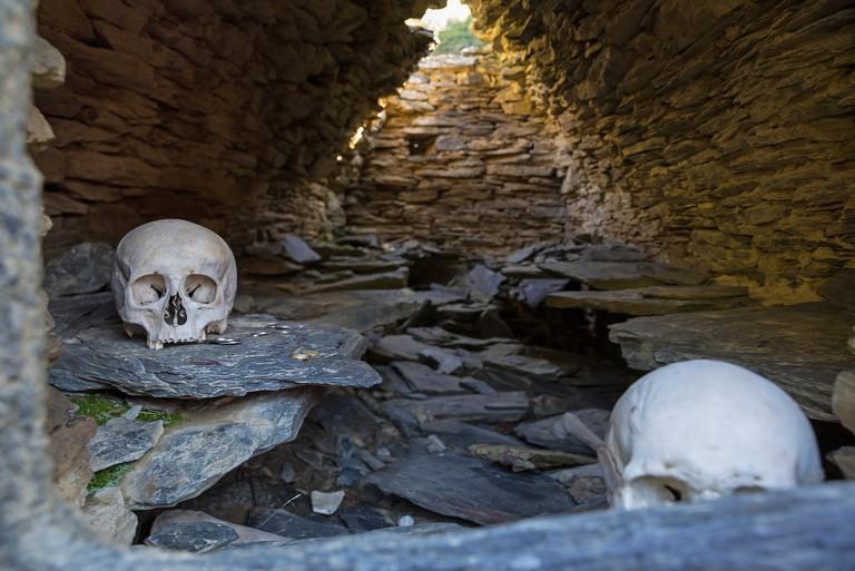 Inside tomb at Nekropolis of Anatori, Khevsureti, Georgia