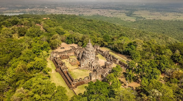 Phanom Rung historical Park aerial view in Buriram, Thailand