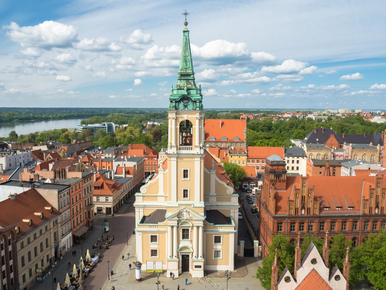 Holy Spirit Church seen from tower of the Old Town Hall in Torun, Poland