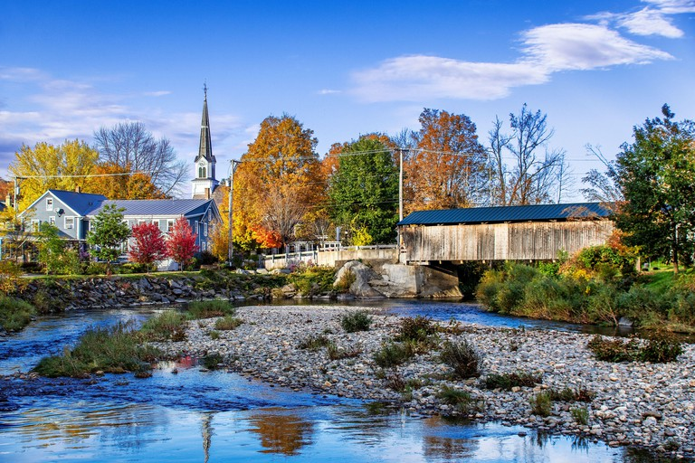 Charming town of Waitsfield in Vermont. 2BJ4BFW