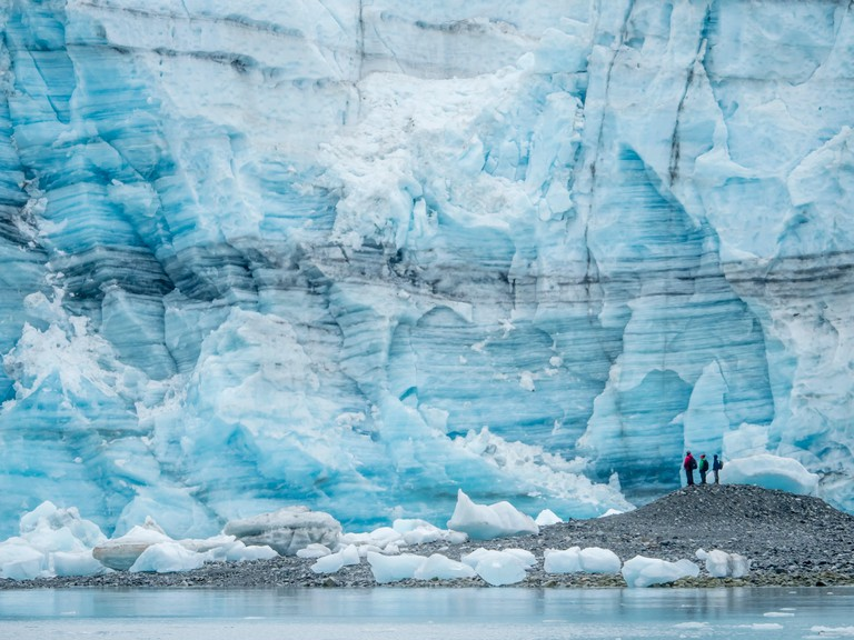 Hikers in front of Lamplugh Glacier, Glacier Bay National Park and Preserve, UNESCO World Heritage Site, Alaska, United States of America