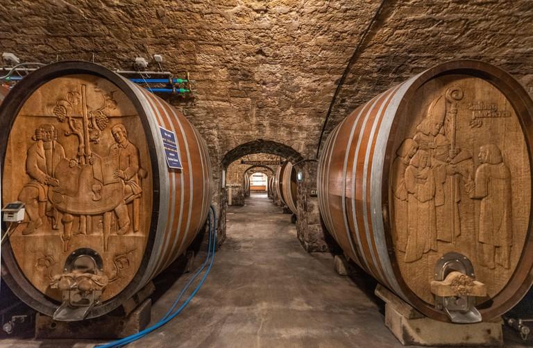 cask cellar of Burgerspital winery, Wurzburg, Germany