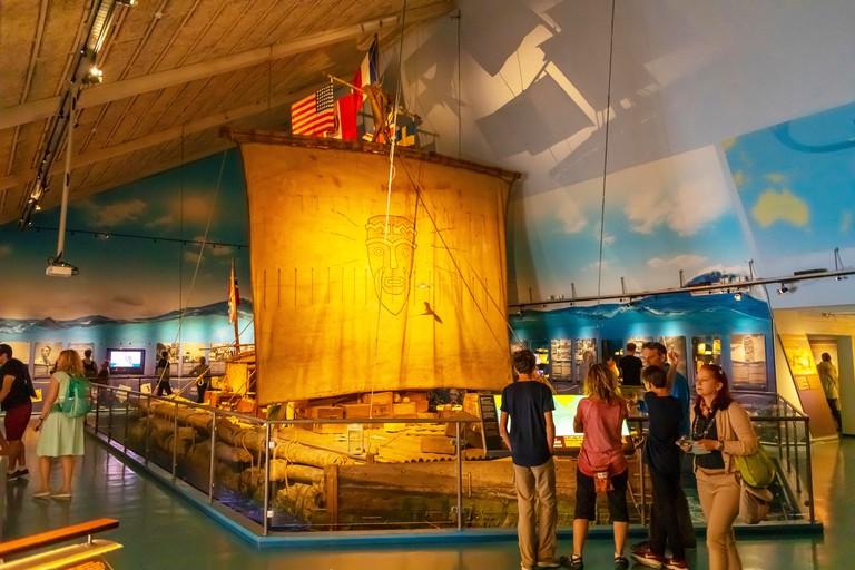 2A2TPNX OSLO, NORWAY - Kon-Tiki raft in museum, Oslo waterfront