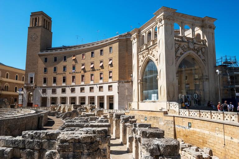 Roman amphitheatre (Anfiteatro romano di Lecce) and Sedile Palace (Palazzo de Seggio) in Piazza Sant'Oronzo in Lecce