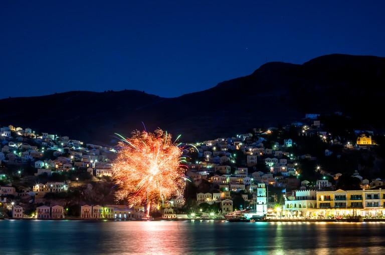 Fireworks display, Symi, Greece