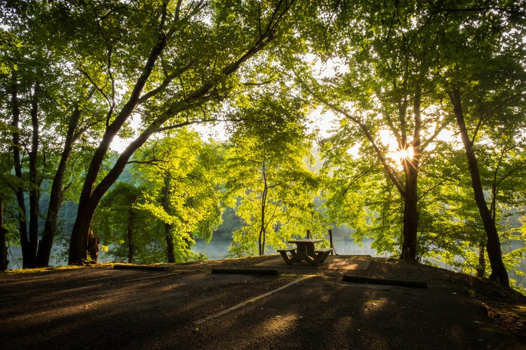 A picnic area at Grundy Lakes Park in Tracy City, Cumberland State Park system. Backlit by the rising sun.