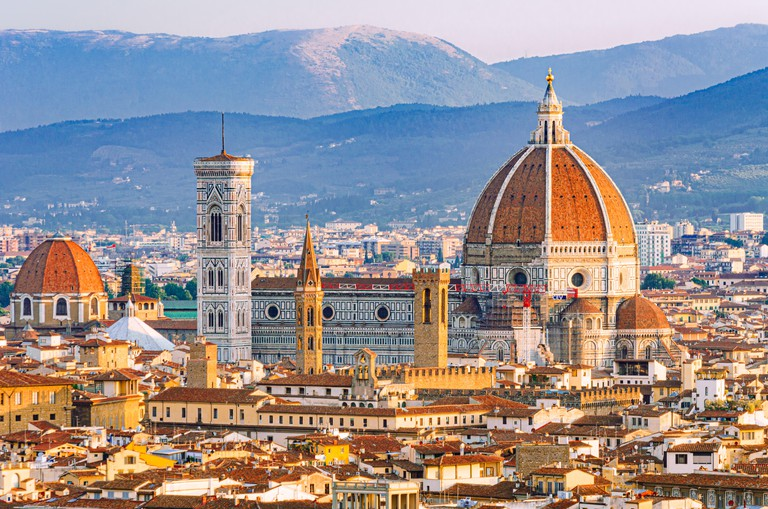 Florence, Tuscany, Italy detailed view from above of the world famous cathedral with beautiful Brunelleschi Dome and Giotto bell tower monuments
