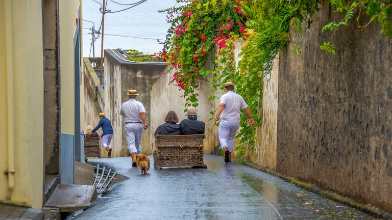 Wicker Toboggan Sled Ride in Monte,Funchal, madeira. 100 year old tradition.