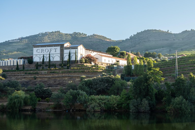 Pinhao, Portugal - 14 August 2019: Croft winery building on the banks of the River Douro in Portugal near Pinhao