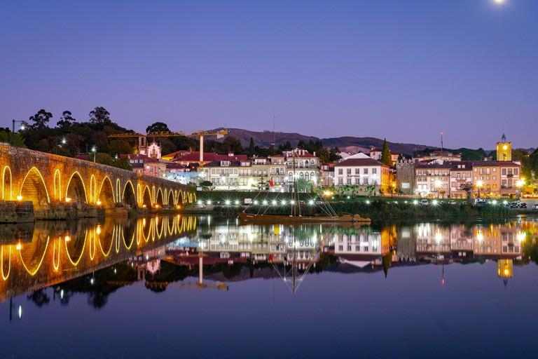 Bridge. Ponte de Lima, Portugal. View from Lima River
