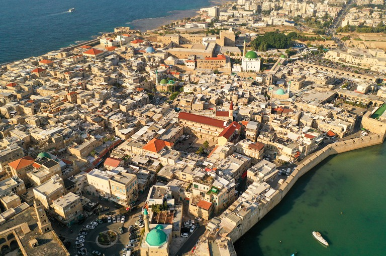 Aerial footage of the old City Acre, Israel.