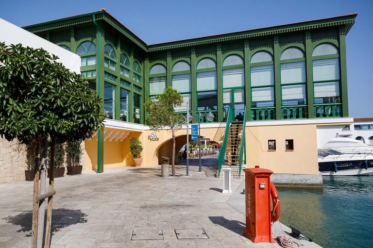 Limassol, Cyprus - September 25 2019: Pyxida restaurant in the new marina of Limassol