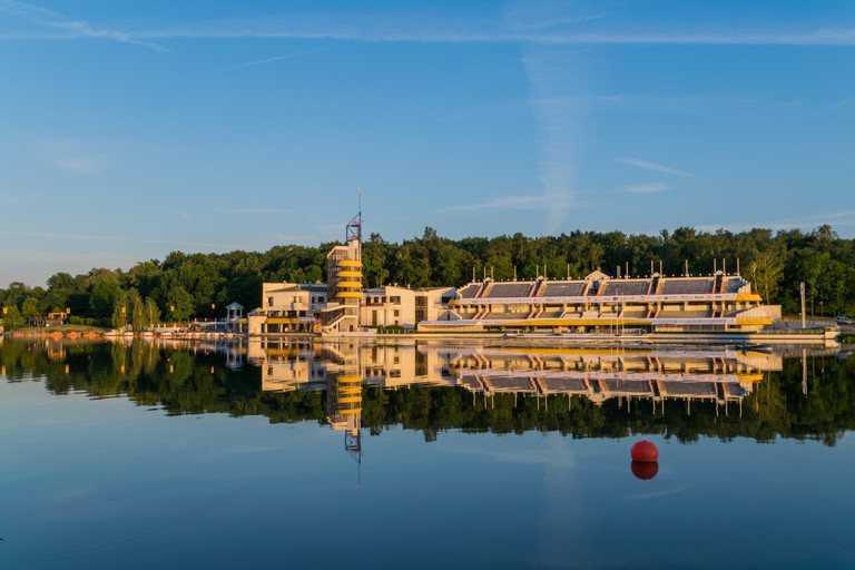 Malta Lake, Poznan aka Maltanski Reservoir. Artificial Recreational Lake in Poznan, Poland. 2.2km long