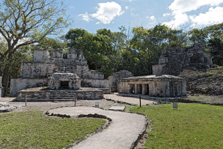 Ancient maya building at Muyil Archaeological site Quintana Roo Mexico. Image shot 04/2019. Exact date unknown.