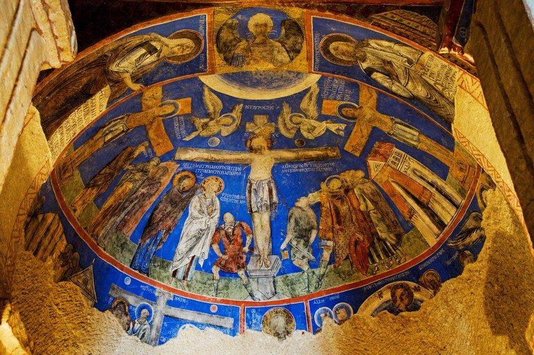 Frescoes inside the Tokali Kilise church. Zelve, X-XI centuries. Cappadocia, Anatolia. Turkey