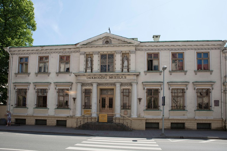 Klaipeda, Lithuania (Memel) - 06/14/2019: Clock and watch museum. Inscription in Lithuanian: Clocks Museum