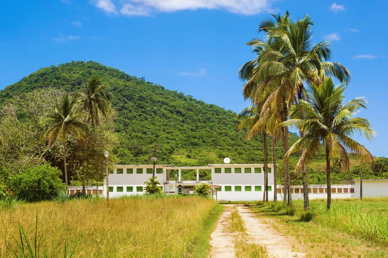 Old prison at Dois Rios village in Ilha Grande, Rio de Janeiro, Brazil, now a museum and popular tourist attraction.