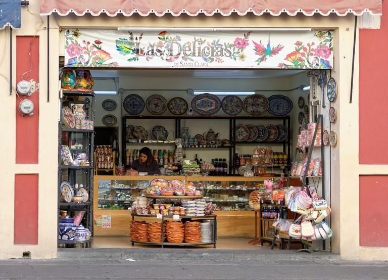 Las Delicias de Santa Clara a Shop on the Calle de los Dulces in Puebla (Street of the Sweets), open view from the street