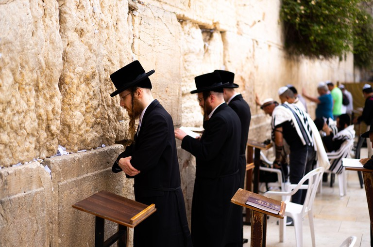 Jews pray at The Wailing Wall, Jerusalem Old City, Israel
