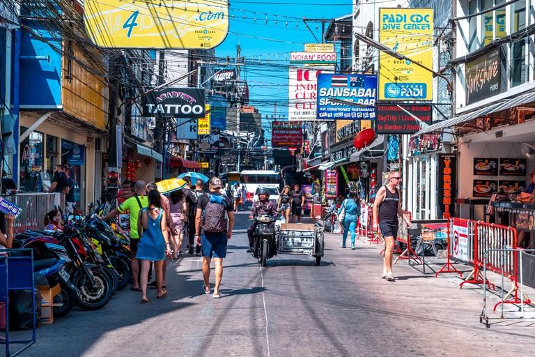 Bangla Road, Patong Beach, Phuket / Thailand - January 15, 2020: Bangla Road is in Patong Beach, It's most popular destination in Phuket