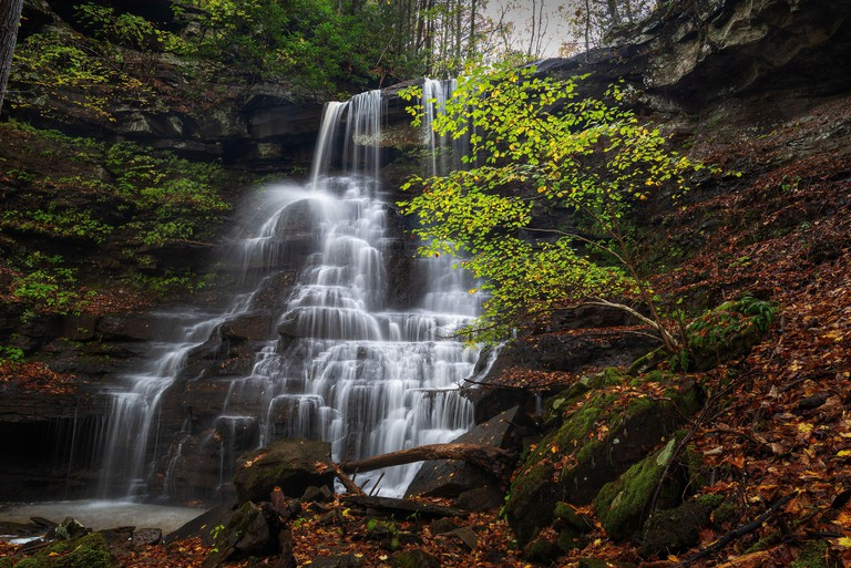 A serene waterfall within the Brush Creek Nature Preserve in West Virginia
