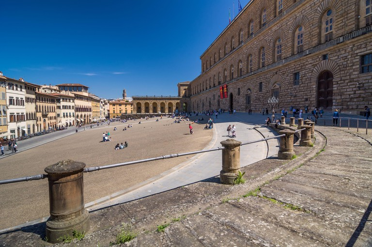 FLORENCE, ITALY - APRIL 14, 2013: The Palazzo Pitti (Pitti Palace), is a vast mainly Renaissance palace in Florence, Italy.