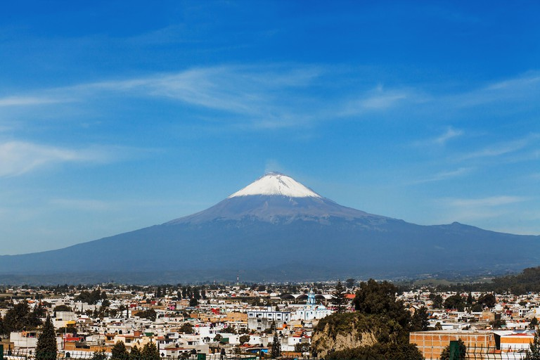 2BKYF88 Popocatepetl Volcano and view of Cholula town in Puebla Mexico