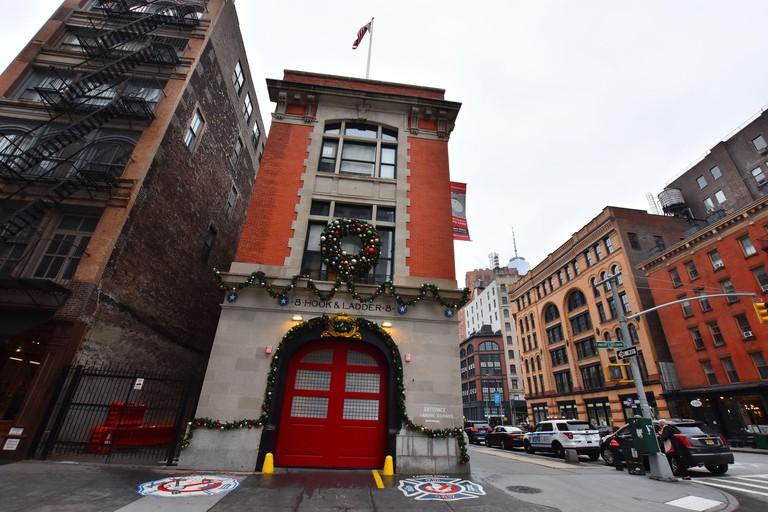 Tribeca, Manhattan, New York City, NYC, USA - December 4, 2019. Hook & Ladder Company 8's firehouse, where Ghostbusters movie was filmed, Tribeca
