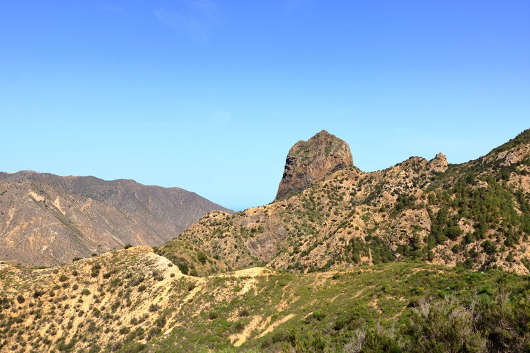 La Gomera - Roque El Cano above the town Vallehermoso